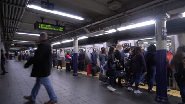 underground train, subway in new york city - new york stato video stock e b–roll