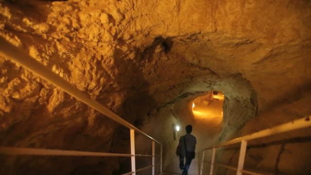 Underground Tunnels in Herodium (Herodion) archeological site  ,Judean desert/ Steady Cam Shot