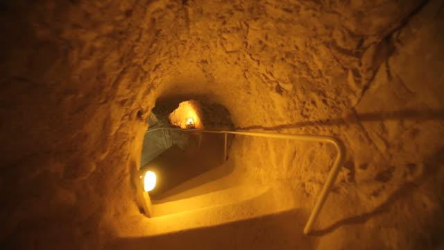 underground tunnels in herodium (herodion) archeological site ,judean desert/ steady cam shot - tunnel stock videos & royalty-free footage