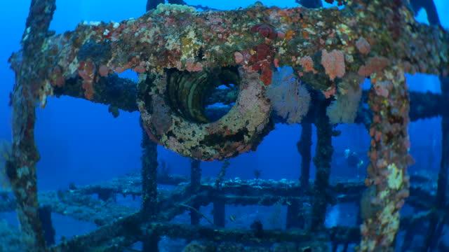 unterwasser-kunstriff aus stahl und verlassenen autoreifen in green island, taiwan - riff stock-videos und b-roll-filmmaterial