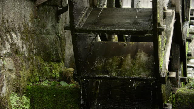 undershot waterwheel turning, japan. - water wheel stock videos and b-roll footage