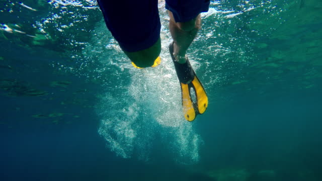 Underwater POV of a man with flippers swimming at the ocean