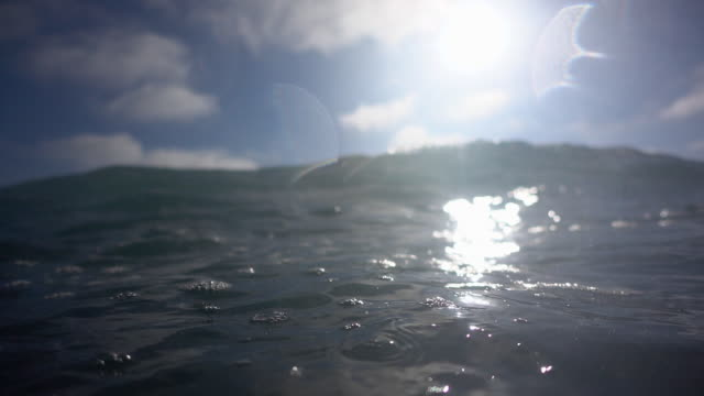 vídeos de stock, filmes e b-roll de underwater and over the waves breaking in the surf at the beach. - slow motion - goodsportvideo