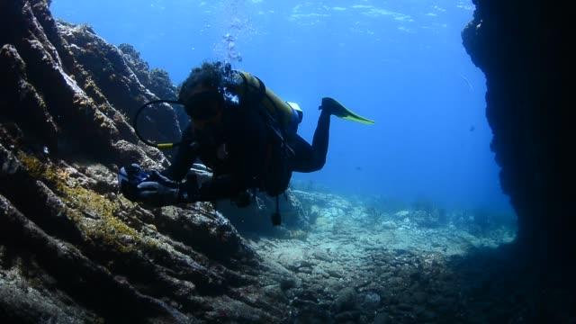 underwater cave and diver. - ゴーゴニアンコーラル点の映像素材/bロール