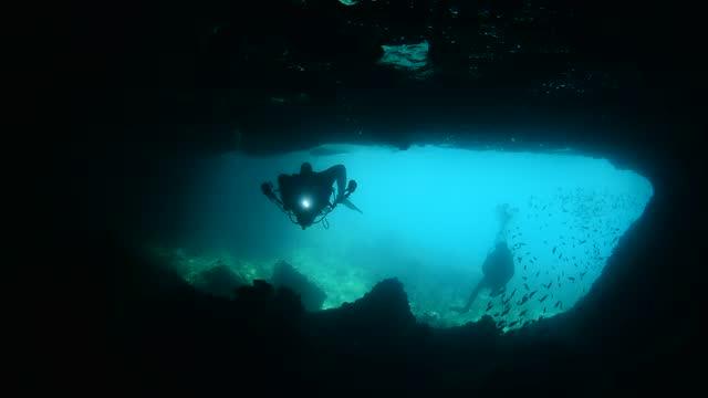 underwater cave. - underwater camera stock videos & royalty-free footage