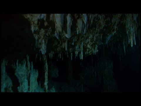 ms  pan underwater cave - scuba diver point of view stock videos & royalty-free footage