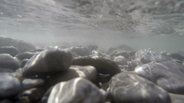 Underwater clip of a mountain river, Stillach River, Oberstdorf, Bavaria, Germany