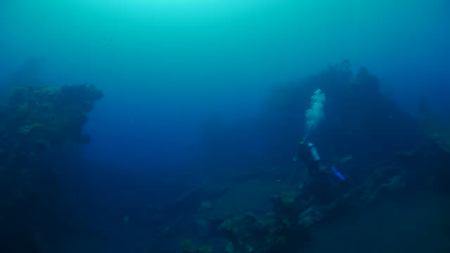 vídeos de stock, filmes e b-roll de mergulhador nadando debaixo d'água em usat liberty naufrágio (4k), bali, indonésia - deep sea diving