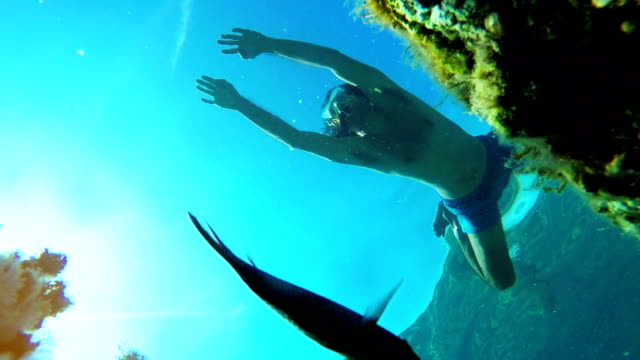Underwater footage of male diver snorkeling in sea