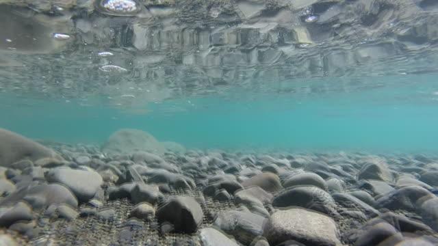 Underwater Footage Of Very Clear Water And Stones On Floor Lake Coleridge