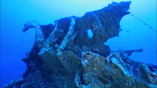 underwater footage;wreck of uss emmons - minesweeper stock videos and b-roll footage