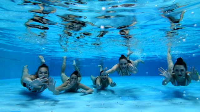 underwater greeting from a swimming athlete team - ecstatic stock videos & royalty-free footage