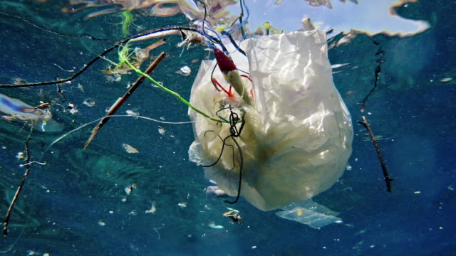 Underwater plastic pollution in the Ocean environmental issue