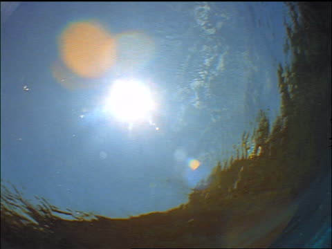 underwater point of view wave going over camera / sun in background / maldive islands, indian ocean - anno 1999 video stock e b–roll