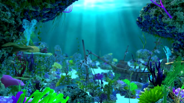 underwater scenery with coral reef