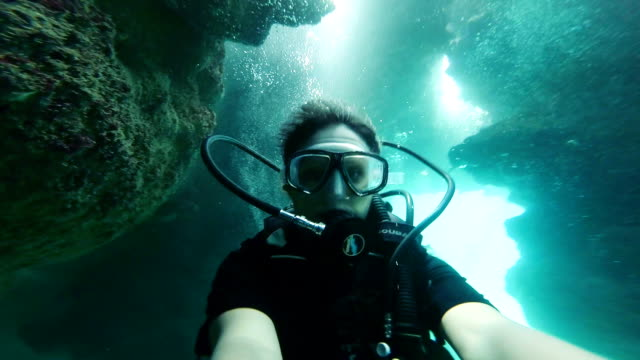 underwater selfie on a cave - scuba diving stock videos & royalty-free footage