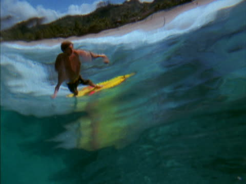underwater shot behind a wave; a surfer emerges, gliding across the water's surface. - sotto video stock e b–roll