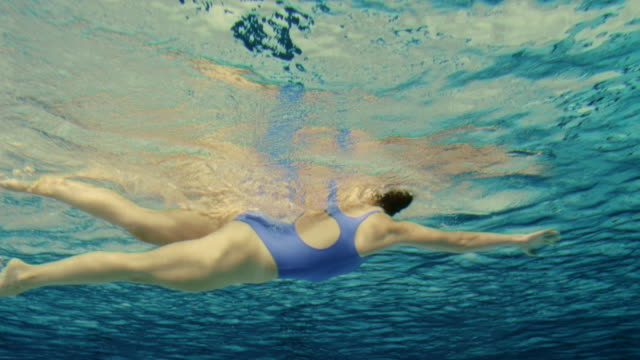 underwater shot of a female swimmer - swimming stock videos & royalty-free footage