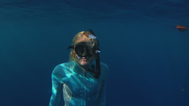 vídeos y material grabado en eventos de stock de underwater shot of a girl surfacing from deep in the ocean - top view