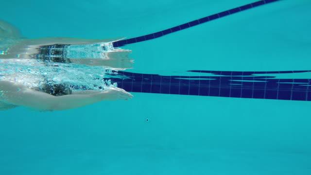 vídeos y material grabado en eventos de stock de ts underwater shot of man swimming breaststroke. - bañador de natación