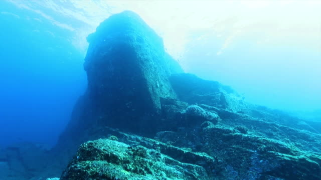 Underwater shot of stepshaped geological formation that extends from a depth of 5 m almost to the surface of the water