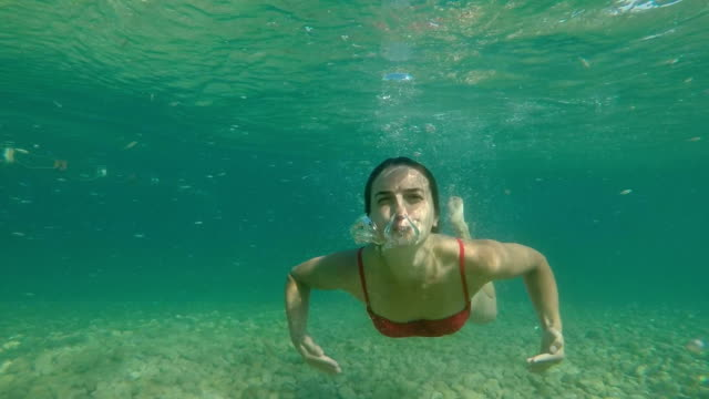 underwater shot of the young lady skin diving in the clear tropical sea - cinemanis videography stock videos & royalty-free footage