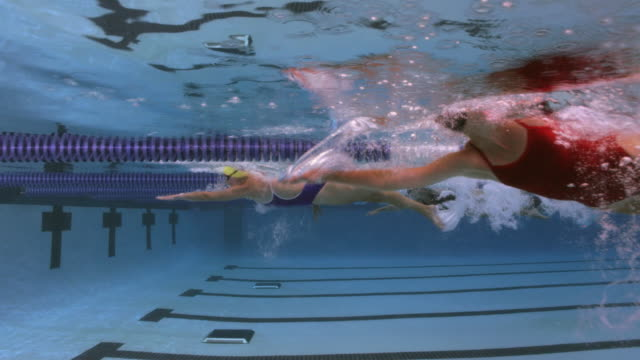 slo mo. underwater side view of a professional swimmer racing freestyle and turning around at the end of the swimming lane during a swim meet in an indoor olympic sized swimming pool - competizione video stock e b–roll