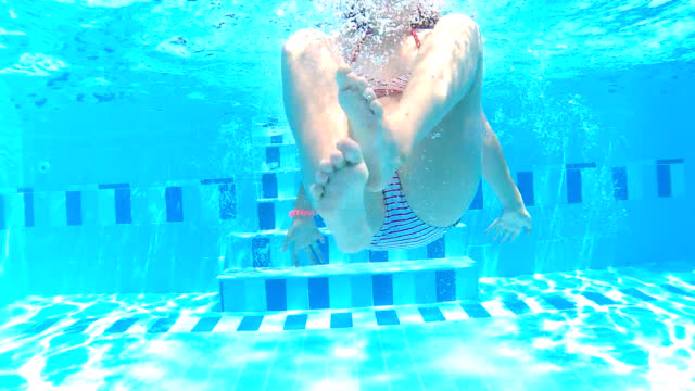 underwater somersault - one girl only stock videos & royalty-free footage