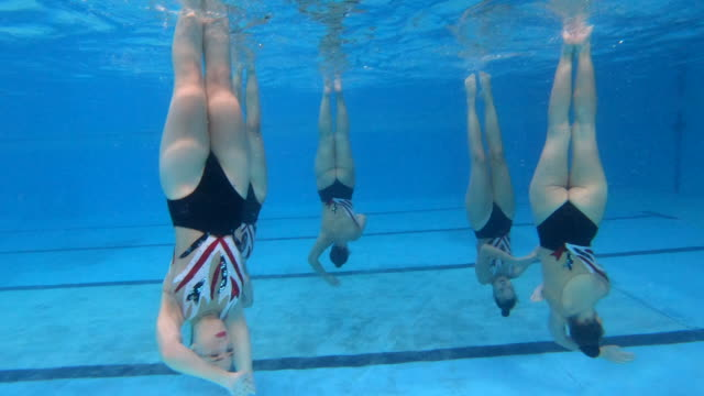 underwater synchronized swimming team performance - upside down stock videos & royalty-free footage
