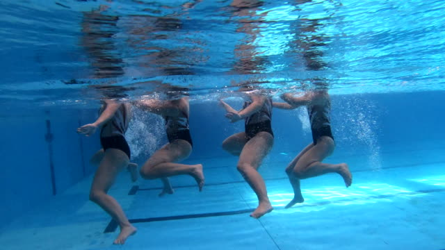 underwater synchronous swimming - woman swimming costume stock videos & royalty-free footage