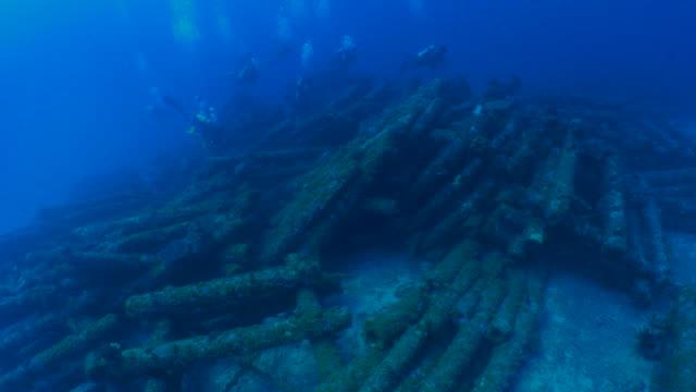 Underwater telephone pole artificial reef, scuba diving