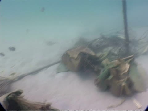 ms underwater view of 2004 tsunami debris, phuket, thailand - 2004 stock-videos und b-roll-filmmaterial