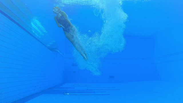 ld underwater view of a female diver landing in the pool in a cloud of bubbles - water sport stock videos & royalty-free footage
