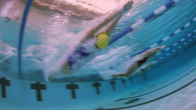 Underwater view of a female professional swimmer diving into the water and swimming freestyle during a swim meet in an indoor olympic sized swimming pool
