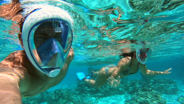 underwater pov view of a man and woman couple snorkeling swimming around scenic tropical islands. - south pacific ocean stock videos & royalty-free footage