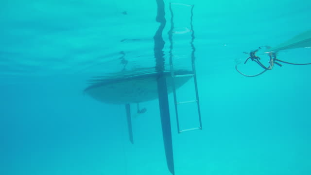 Underwater view of a Sailboat