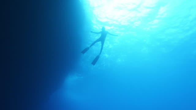 underwater view of a scuba diver floating and then surfacing - surfacing stock videos & royalty-free footage