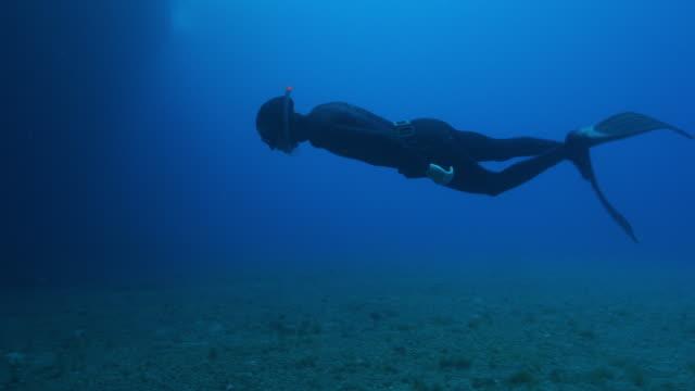vídeos y material grabado en eventos de stock de vista submarina de un buceador nadando hacia un arrecife oscuro - buceo con equipo