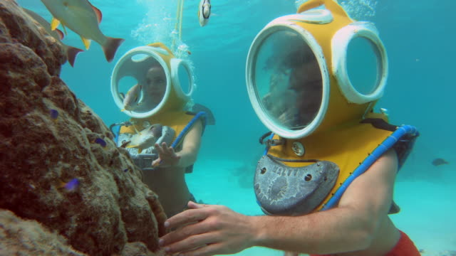 underwater view of scuba diving with a diving helmet in moorea tropical island with fish and stingrays. - diving helmet stock videos and b-roll footage