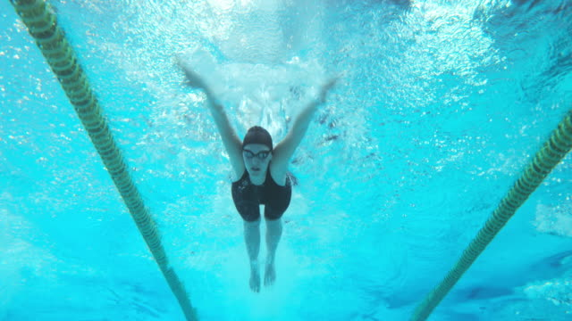 Underwater view of swimmers at female butterfly style competition