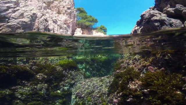 Underwater view of the Costa Brava shoreline.