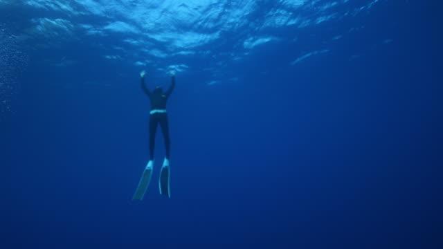 stockvideo's en b-roll-footage met onderwatermening van twee duikers die opduiken - zwemvlies