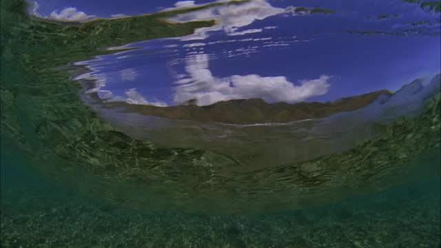 vídeos de stock, filmes e b-roll de slo mo cu underwater view of wave crashing / moorea, tahiti, french polynesia - menos de 10 segundos