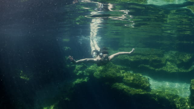 vídeos y material grabado en eventos de stock de underwater view of woman approaching then surfacing in natural pool / meadow, utah, united states - salir del agua