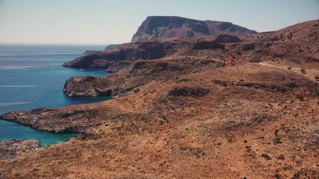 undeveloped coastline of crete island near makronisi heraklion - greece stock videos & royalty-free footage