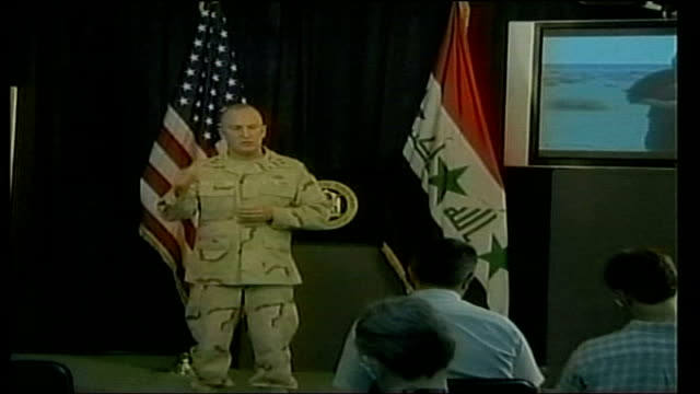 unedited video footage of al zarqawi discovered by us troops iraq baghdad int major rick lynch press conference sot what he didn't show here were the... - subordination stock videos & royalty-free footage