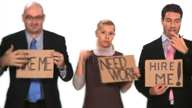 hd dolly: unemployed business people - unemployment stock videos and b-roll footage