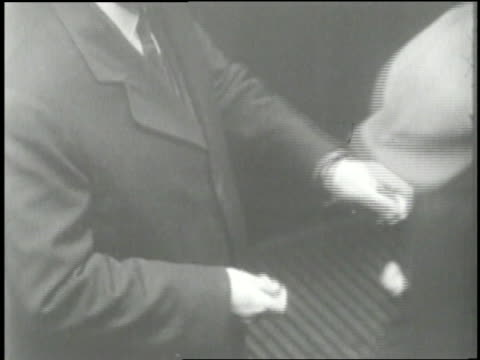 unemployed workers accept charity during the great depression. - 1920 1929 stock-videos und b-roll-filmmaterial