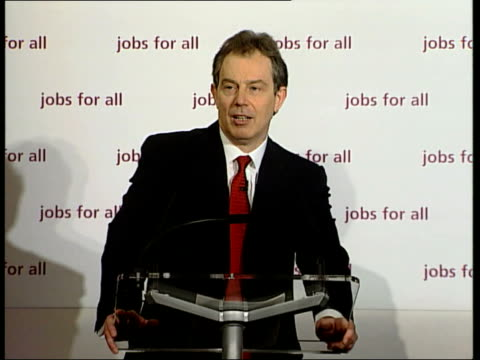 unemployment falls below one million tony blair mp press conference sot the number of people claiming unemployment benefit has fallen below one... - unemployment benefit stock videos & royalty-free footage