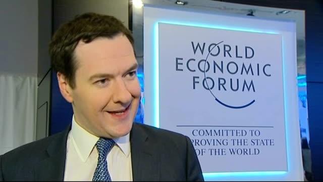 George Osborne interview SWITZERLAND Davos INT George Osborne MP interview SOT